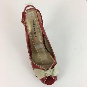 Madden Girl Red Peep Toe Slingback Heels Size 10